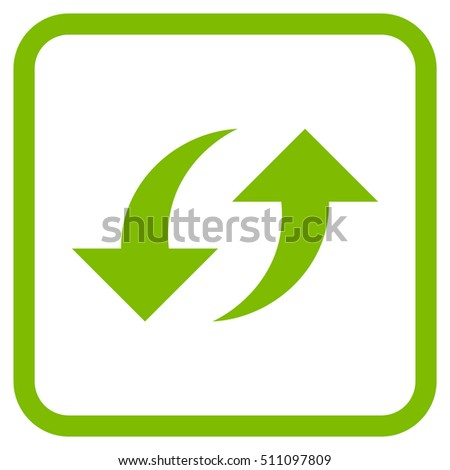Exchange Arrows eco green vector icon. Image style is a flat pictogram symbol inside a rounded square frame on a white background.