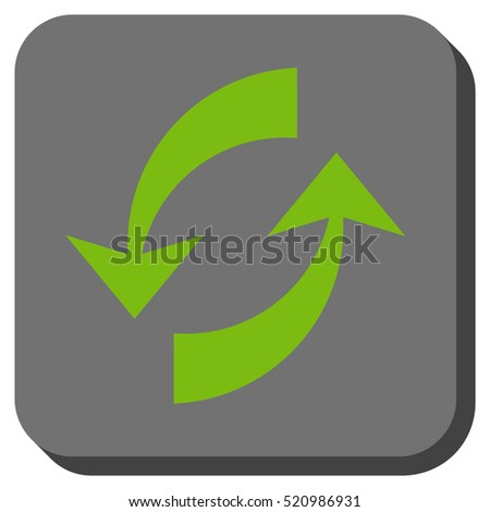 Exchange Arrows vector icon. Image style is a flat icon symbol in a rounded square button, light green and gray colors.