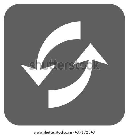Exchange Arrows vector icon. Image style is a flat icon symbol inside a rounded square button, white and silver gray colors.