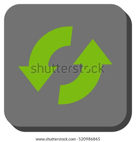 Exchange Arrows vector icon. Image style is a flat icon symbol inside a rounded square button, light green and gray colors.