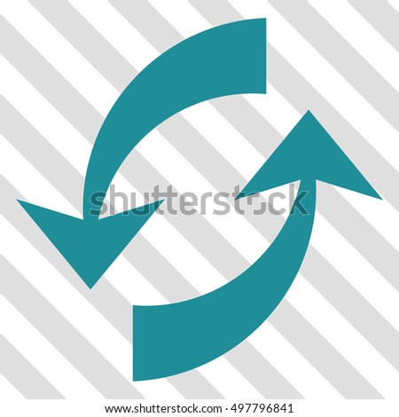 Exchange Arrows vector icon. Image style is a flat soft blue icon symbol on a hatched diagonal transparent background.