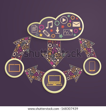 exchange of data between devices through cloud computing - stock vector