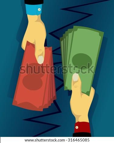 Exchanging different currencies - stock vector