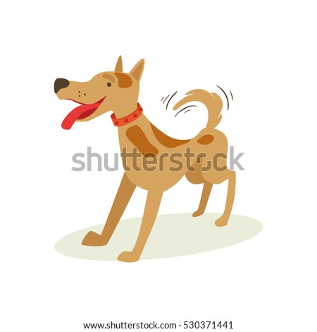 Excited Brown Pet Dog Wants To Play, Animal Emotion Cartoon Illustration
