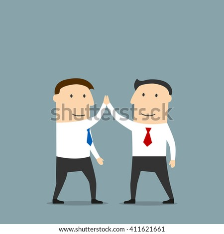 Excited cartoon business partners are doing a high five, congratulating each other with successful deal. Use as partnership, team work, goal achievement, celebration concept design - stock vector
