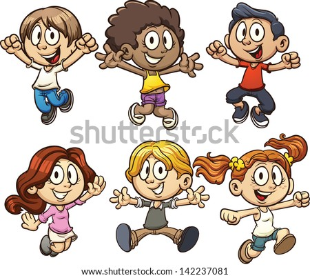 Excited cartoon kids jumping. Vector clip art illustration with simple gradients. Each on a separate layer. - stock vector