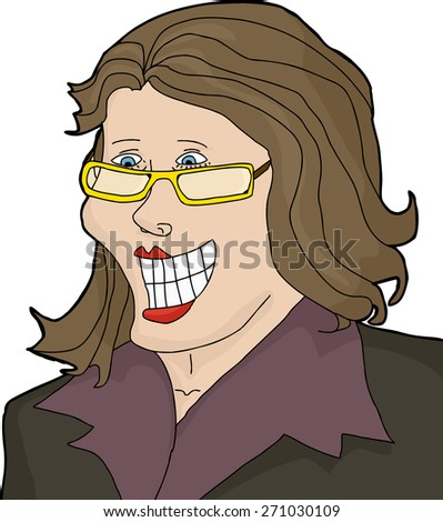 Excited Caucasian woman with eyeglasses and big smile - stock vector