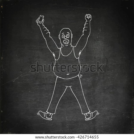 Excited man celebrating success hands raised. Chalk board drawing fat man with phone in hand. Chalk drawn vector stock illustration.