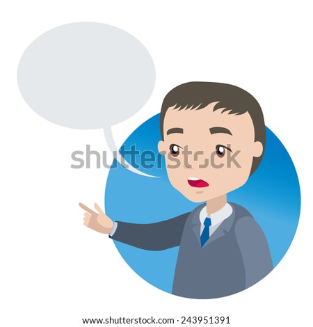 excited man in business suit points finger forward - businessman cartoon character series of drawings