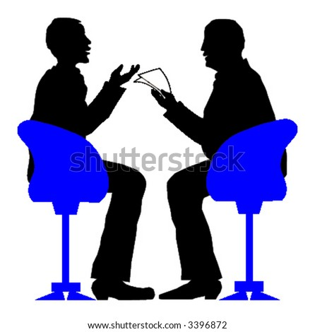 Exciting job interview. Vector illustration. - stock vector