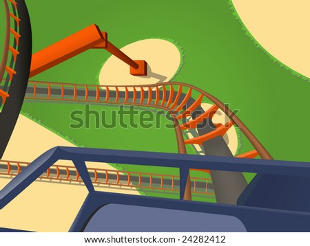 Exciting joyful ride on a rollercoaster - stock vector