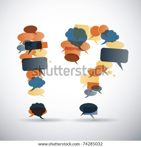 Exclamation and question mark made from speech bubbles with retro colors - stock vector