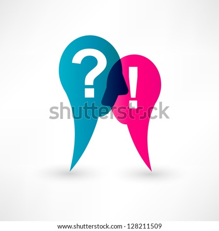 Exclamation mark and question mark icon - stock vector