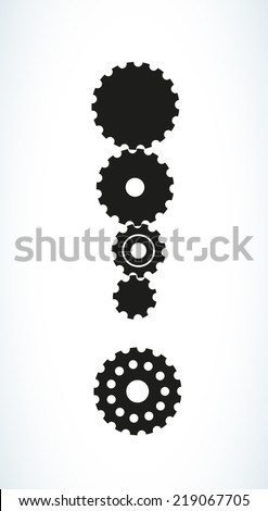 exclamation mark created from black different cog wheels, vector - stock vector