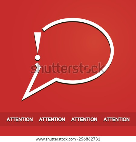 Exclamation mark icon or attention sign warning with speech bubble in red background art - stock vector