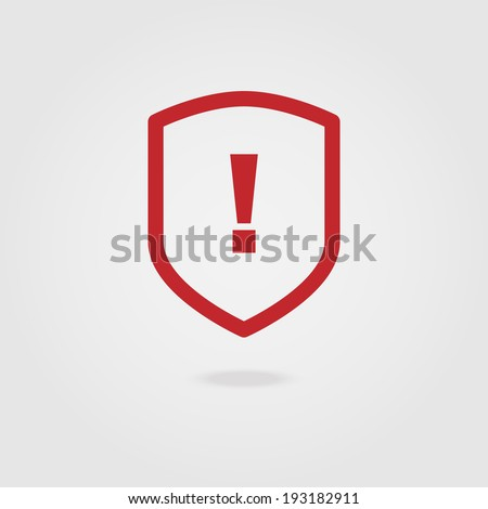 Exclamation mark icon shield. - stock vector