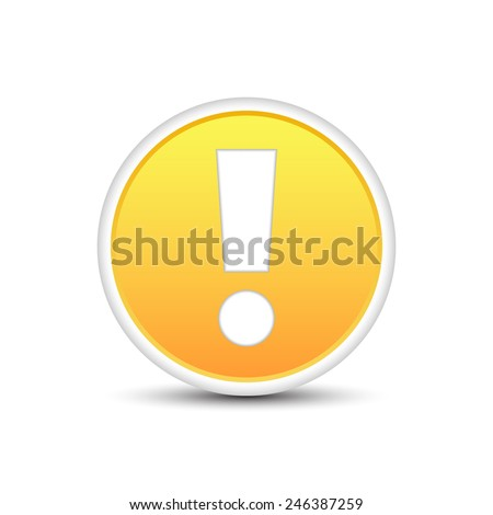 Exclamation mark in a yellow button with shadow effect