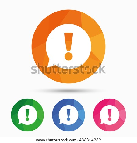 Exclamation mark sign icon. Attention speech bubble symbol. Triangular low poly button with flat icon. Vector - stock vector