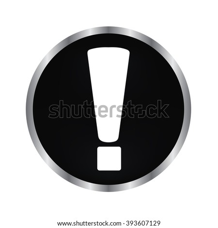 exclamation mark - vector icon on a black button