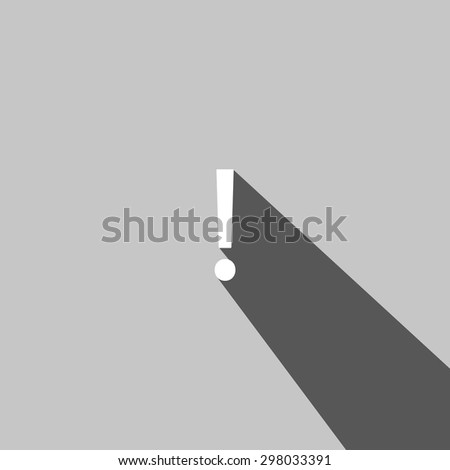 Exclamation mark  web icon on gray background - stock vector