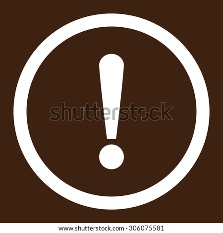 Exclamation Sign vector icon. This rounded flat symbol is drawn with white color on a brown background.