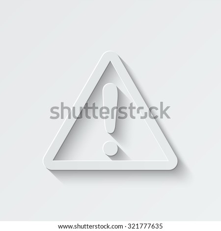 exclamation vector icon - paper illustration - stock vector