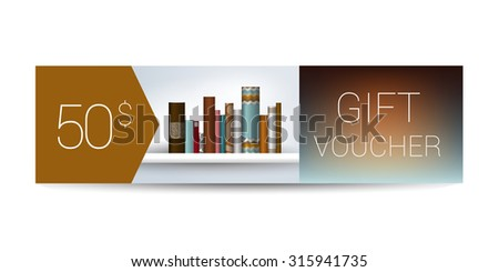 excllusive book store gift voucher template stock vector 313442147