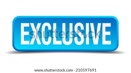 exclusive blue 3d realistic square isolated button - stock vector