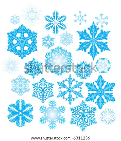 Exclusive collection of 22 snowflakes. Natural and fantasy.