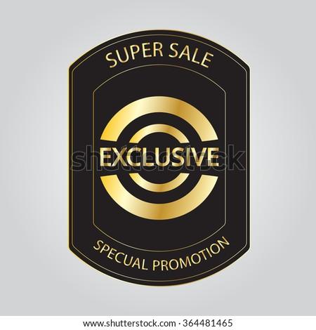 exclusive golden label,vector illustration - stock vector