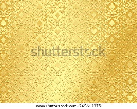 Exclusive golden poker background with card symbols - stock vector
