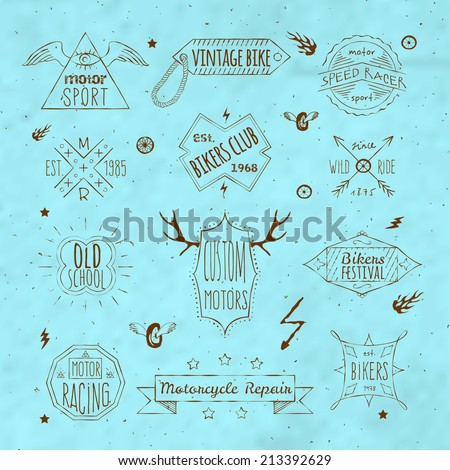 Exclusive old school vintage motorcycle racing bikers club emblems labels set doodle sepia sketch isolated vector illustration - stock vector