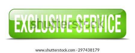 exclusive service green square 3d realistic isolated web button