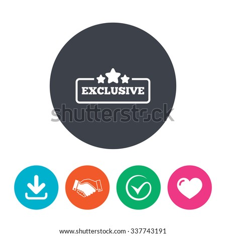 Exclusive sign icon. Special offer with stars symbol. Download arrow, handshake, tick and heart. Flat circle buttons. - stock vector