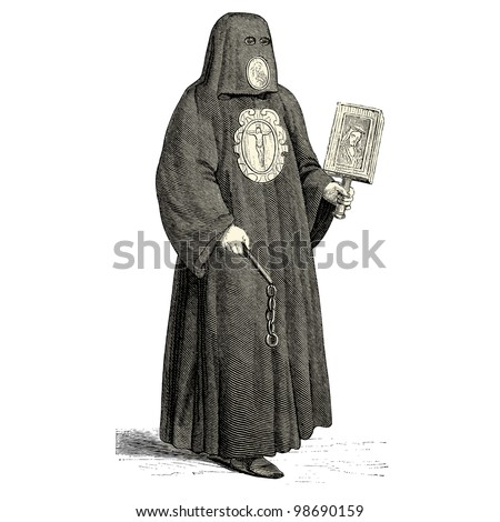 "Executioner of the medieval times - vintage engraved illustration - ""Costumes anciens et modernes "" by Cesare Veccello ed.Firmin-Didot  in 1859 - Paris"