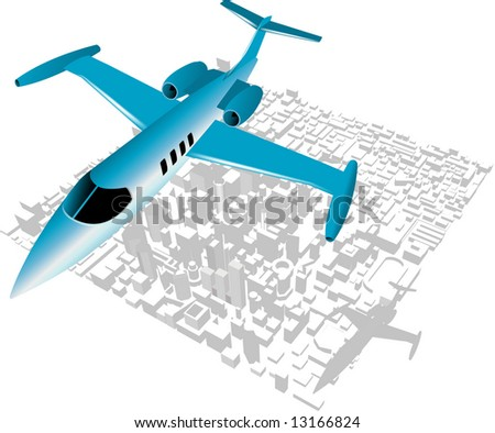 Executive City Jet over city backdrop - stock vector