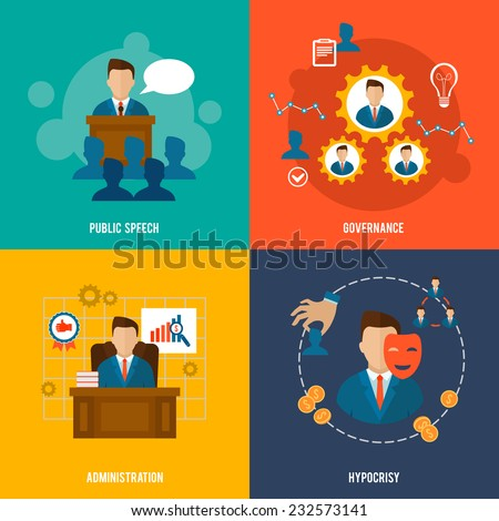 Executive flat icons set with public speech governance administration hypocrisy isolated vector illustration. - stock vector