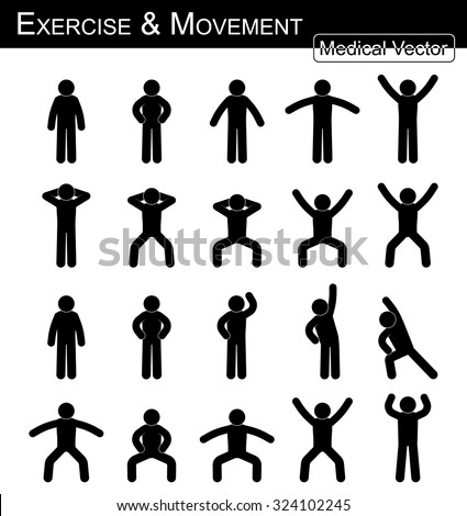 Exercise and Movement ( move step by step, simple flat stick man vector, Medical , Science and Healthcare concept ) ( black and white style )