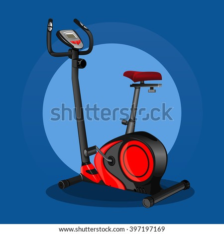 Exercise bike icon. Stationary bike. Sport equipment. Fitness design. Vector realistic illustration for sports clubs and gyms