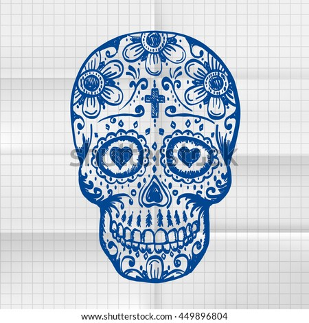 Exercise Book Day Of The Dead Skull Sketch Draw Sugar Flower Tattoo