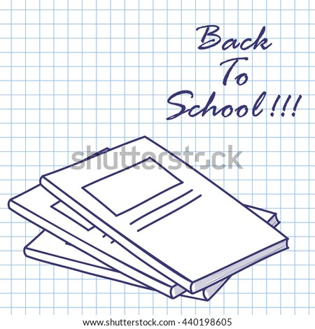 Exercise book. Doodle sketch on checkered paper background. Vector illustration. - stock vector