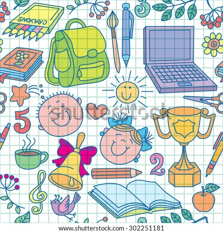 Exercise book drawings seamless pattern color.