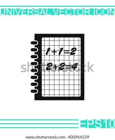 Exercise book vector icon. Mathematics  - stock vector