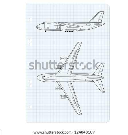exercise book with a drawing for a model airplane. Vector illustration. - stock vector