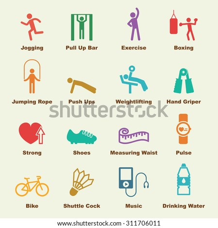 exercise elements, vector infographic icons - stock vector