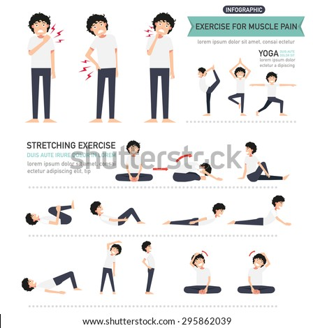 exercise for muscle pain infographic,vector illustration. - stock vector