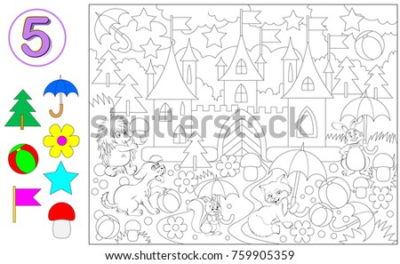 Exercise for young children with number 5. Logic puzzle game. Need to find five times each object and paint them in relevant colors. Developing skills for counting. Vector image.