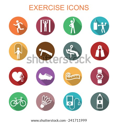 exercise long shadow icons, flat vector symbols - stock vector