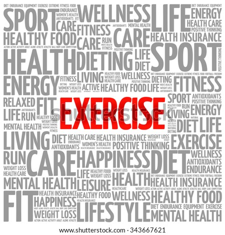 EXERCISE word cloud background, health concept - stock vector