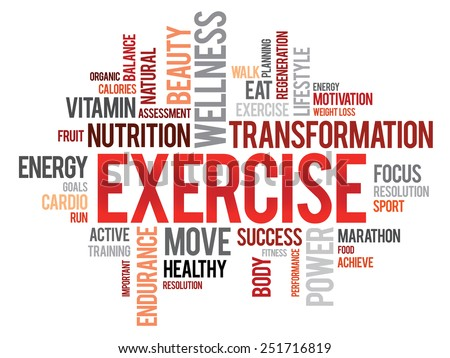 EXERCISE word cloud, fitness, sport, health concept - stock vector